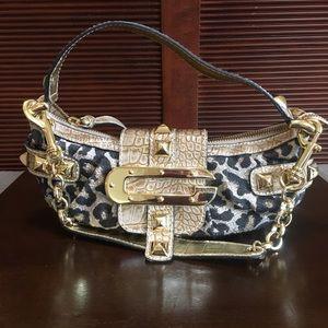 "Guess Purse w/Signature ""G"" Design, Cheetah & Gold"